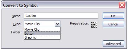 Ukážka konvertovania na symbol Button